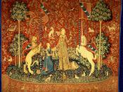 en: The Lady and the Unicorn (French: La Dame à la licorne) also called the Tapestry Cycle is the title of a series of six Flemish tapestries depicting the senses. They are estimated to have been woven in the late 15th century in the style of mille-fleurs