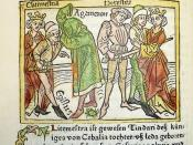 Woodcut illustration of Clytemnestra and Aegisthus murdering Agamemnon and their subsequent deaths at the hand of Orestes
