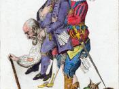English: The Third Estate carrying the Clergy and the Nobility on its back Français : Le Tiers-État portant le Clergé et la Noblesse sur son dos.