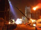 English: Arri lights mounted on a Bronto Access Platform from Nationwide Access after finishing a day's shoot of Being Human. (College Green, Bristol, UK)