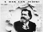 Edouard Drumont and the antisemitic newspaper he founded, La Libre Parole. Headlines concerning the Dreyfus Affair: