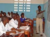 English: A class in a newly rebuilt secondary school in Pendembu Sierra Leone