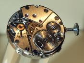 Prim clockwork of a wristwatch, watchmaking exhibition, Municipal Museum, Nove Mesto nad Metuji, Czech Republic