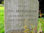 English: Grave of Eric Arthur Blair (George Orwell), All Saints, Sutton Courtenay A modest grave for such a famous 20th century author. He lived here, amongst other places. 61720