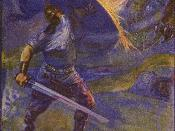 English: An illustration of Beowulf fighting the dragon that appears at the end of the epic poem.