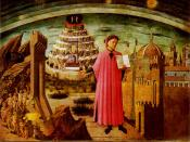 Domenico di Michelino, La Divina Commedia di Dante (Dante and the Divine Comedy). 1465 fresco, in the dome of the church of Santa Maria del Fiore in Florence (Florence's cathedral). Dante Alighieri is shown holding a copy of his epic poem The Divine Comed