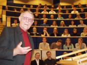 Ingvar Kamprad, founder of IKEA, holding a lecture for a group of students at Växjö University