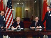 English: President George H. W. Bush and President Mikhail Gorbachev sign United States/Soviet Union agreements to end chemical weapon production and begin destroying their respective stocks in the East Room of the White House, Washington, DC on the 1st o