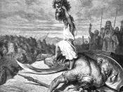 English: The young Hebrew David hoists the head of the Philistine Goliath