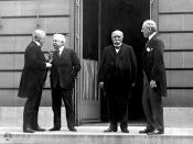 Taken by Edward N. Jackson, WWI Paris peace conference, May 27, 1919 (candid photo) (L - R) Prime Minister David Lloyd George (Great Britian) Premier Vittorio Orlando, Italy, French Premier Georges Clemenceau, President Woodrow Wilson