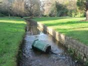 English: Bournemouth Gardens: litter bin littering A litter bin has found its way into the Bourne stream in the Gardens.