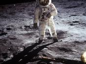 Buzz Aldrin walks on the moon, July 20, 1969