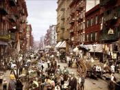 Mulberry Street NYC ca.1900. edit of Image:Mulberry Street NYC c1900 LOC 3g04637u.jpg by me user debivort. 1px median filtered, and then downsampled.