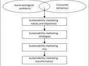 English: Sustainability Marketing follows six key elements: socio-ecological problems, consumer behavior, sustainability marketing values and objectives, sustainability marketing strategies, sustainability marketing mix and sustainability marketing transf