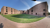Panorama image of the main complex of Indian Institute of Ahmedabad (IIMA). On the opposite side of the lawn there is the Lous Khan Plaza. Taken by Canon Powershot A80 using automatic picture balancing controls. Picture constructed by Autostich 2.185 from