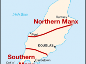 Map of the dialects of Manx