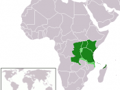 English: Language map of Swahili Dark green: native speakers Mid green: official language Light green: common second language