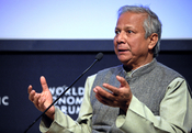 English: Muhammad Yunus, Managing Director, Grameen Bank, Bangladesh, listens during the session 'Restoring Growth through Social Business' at the Annual Meeting 2009 of the World Economic Forum in Davos, Switzerland.