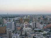English: Panorama of Dar es Salaam city a few minutes before dusk. Taken from Benjamin William Mkapa Pension Tower, facing south