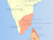 Distribution of Tamil speakers in South India and Sri Lanka (1961).
