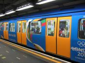 A London Underground train decorated to promote London's Olympic bid.
