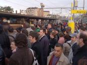 Strike Action Causes Crowded Platform