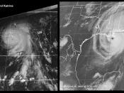 Comparison of Hurricanes Camille and Katrina near landfall along the Louisiana coast.