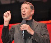 Larry Ellison on stage.