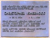 Memorial plaque, Christopher Isherwood, Nollendorfstraße 17, Berlin-Schöneberg, Germany Koordinate: 52°29′52″N 13°21′5″E  /  °S °W  / ; latd>90 (dms format) in latd latm lats longm longs