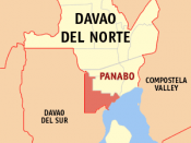 English: Map of Davao del Norte showing the location of Panabo
