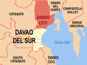 English: Map of Davao del Sur showing the location of Davao