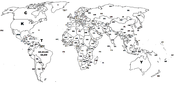 English: World map showing ICAO prefix for each country.