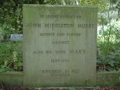 Grave of John Middleton Murry at Thelnetham Church in Suffolk