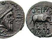 Denarius issued by Quintus Caecilius Metellus Pius Scipio Nasica as Imperator in 47 or 46 BC, from traveling military mint in North Africa. On obverse, laureate head of Jupiter with beard and hair in ringlets. On reverse, an elephant, a frequent image on
