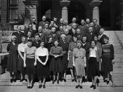 Orange County Assessor's Office employees on the steps of the Courthouse, Santa Ana, circa 1940