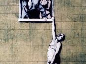 English: Banksy graffiti on the Bottom of Park Street Bristol.