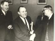English: Minister of Finance, Mr Muldoon, (at centre) and the Member for Otaki, Mr A. McCready greet Mr A.J. Shaw, Before luncheon. Thurs. 26 June 1969.