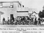 Shearers on motor bikes, Winton, 1910