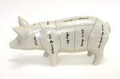 English: Saving for a sabbatical, a car repair or those college fees…it's all possible with this piggybank, which has taken as its inspiration the traditional butchers cuts to represent the driving forces for which we save and spend money.