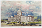 English: Print showing 1896 artist's conception of the state capitol building in Helena, Montana with busy street scene of carriages and coaches, and large groups of people standing on steps and at entrances to the building. 1 print : chromolithograph. Fr