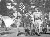 English: marches under a flag of truce in order to sue for surrender of the British forces to the Japanese on exif-unknowndate 1942 ( 1942-02-15 ) .