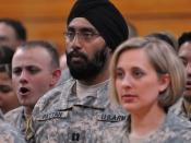English: Army Captain Tejdeep Singh Rattan, one of the first Sikh officers in the military since permission was granted to allow beards, long hair, and turbans on active duty. Photo at Officer training, 2010