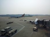 English: A trio of Asiana Airlines aircraft at the Incheon International Airport, near Seoul
