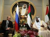English: ABU DHABI. With President of the United Arab Emirates Sheikh Khalifa Bin Zayed Al Nahyan. Русский: АБУ-ДАБИ. С Президентом Объединенных Арабских Эмиратов Халифой бен Заидом аль-Нахайяном.
