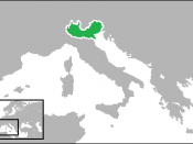 English: Locator map showing the Kingdom of Lombardy-Venetia. (Partially based on map: http://en.wikipedia.org/wiki/File:Unification_of_Italy_1815-1870.jpg.)