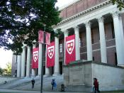 Harvard Yard, Widener Library, preparations for inauguration of President Drew Faust