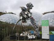 English: The WEEE Man A view to the north showing the RSA WEEE Man. The 3 tonne figure stands 7 metres high and is made entirely of WEEE – Waste Electrical and Electronic Equipment. This represents the amount of such waste that a single person in the UK i