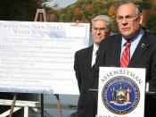 English: New York State Assemblymembers Robert Castelli and Steve Katz call for a moratorium on on hydraulic fracturing in the Croton Watershed in October 2010.