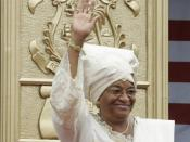 Liberian President Ellen Johnson Sirleaf waves to the audience at her inauguration in Monrovia, Liberia.
