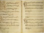 Early 16th century manuscript of Missa de Beata Virgine by Josquin des Prez; 2D representation